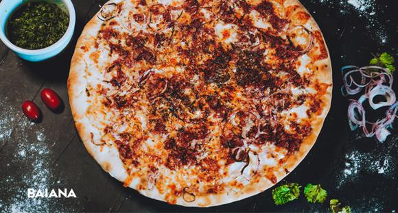 1 Pizza G - Sabores Frango com Catupiry, Calabresa ou Baiana na Ribeira Pizzaria