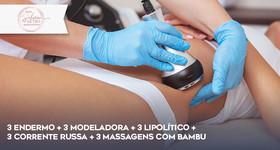 Pacote corporal com Endermo, Modeladora, Lipolítico e massagem com bambu
