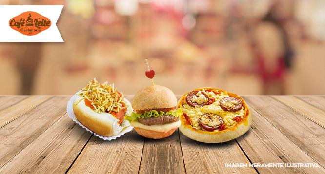 40 Mini Hot Dogs + 40 Mini Hambúrgueres + 20 Mini Pizzas na Café com Leite